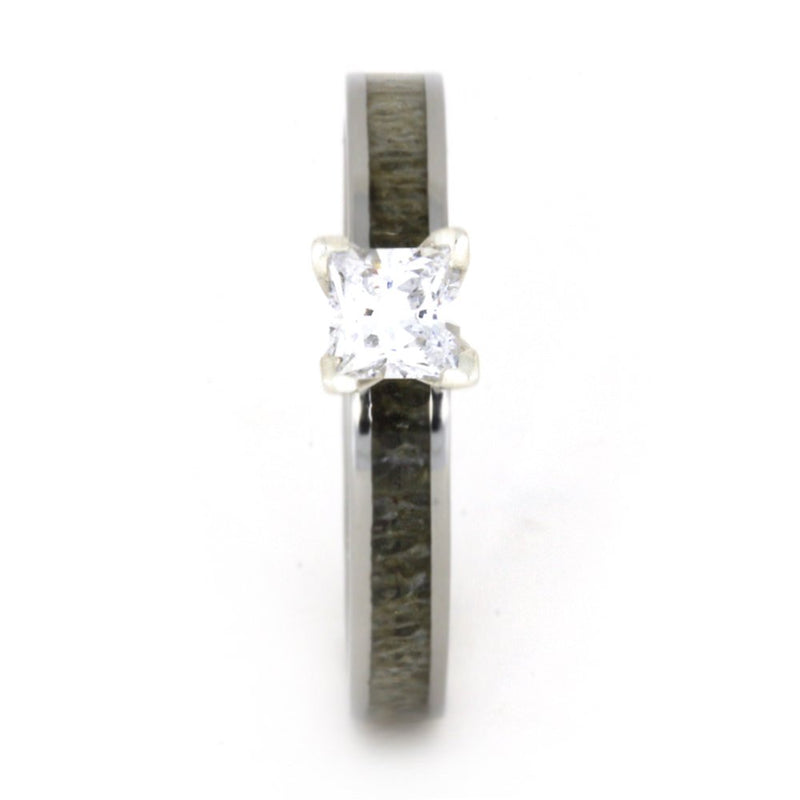 Princess-Cut Diamond Deer Antler 4mm Comfort-Fit Titanium Ring