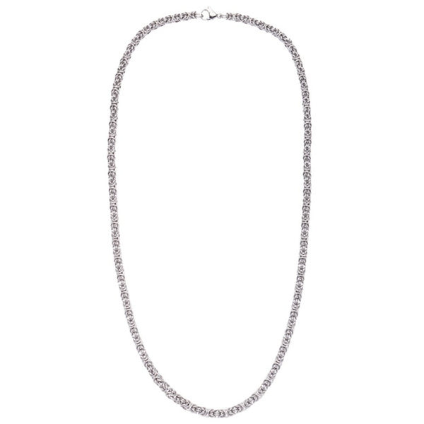 "Men's Stainless Steel Byzantine Chain, 22"" (55cm)"