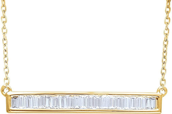 "Diamond Baguette Bar Necklace in 14k Yellow Gold, 16-18"" (1/2 Cttw)"