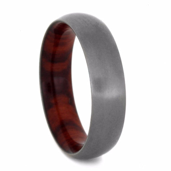 Tulip Wood Sleeve with Matte Titanium Overlay 6mm Comfort-Fit Band