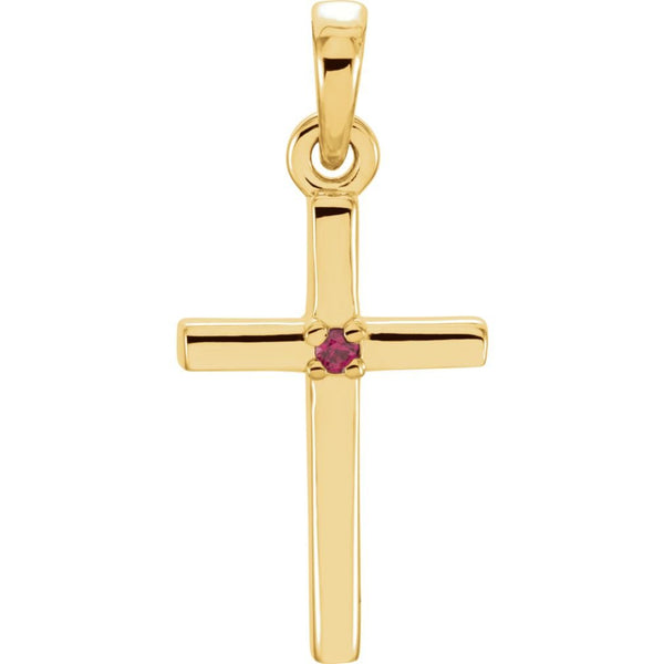 Ruby Inset Cross 14k Yellow Gold Pendant (19.2x9MM)