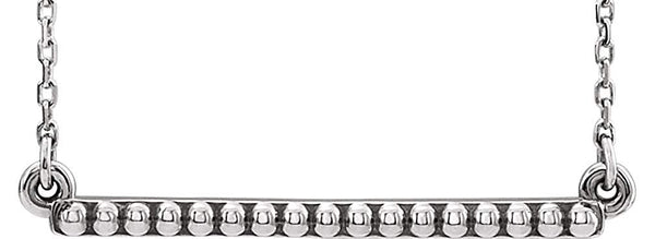 Petite Bead Trim Bar Necklace, Rhodium-Plated 14k White Gold, 16-18""