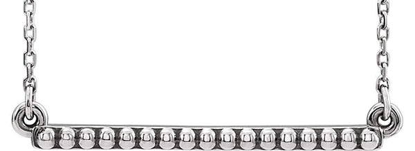 Petite Bead Trim Bar Necklace, Sterling Silver, 16-18""