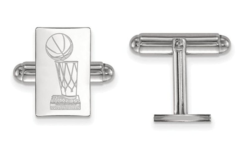 Sterling Silver 2017 NBA Championship Warriors Rectangle Cuff Links