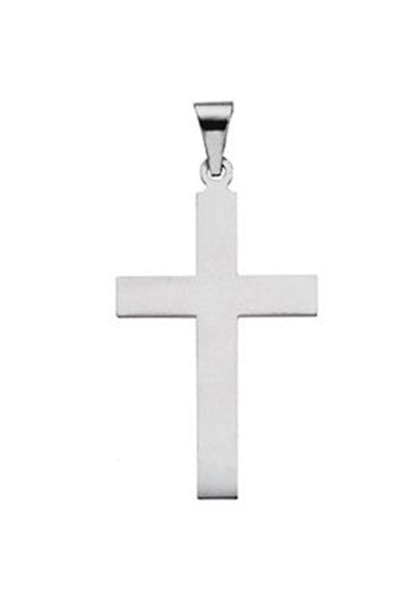 Western Cross Rhodium-Plated 14k White Gold Pendant (21X12MM)