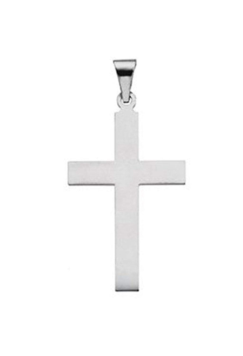 Western Cross Rhodium-Plated 14k White Gold Pendant (42X25MM)