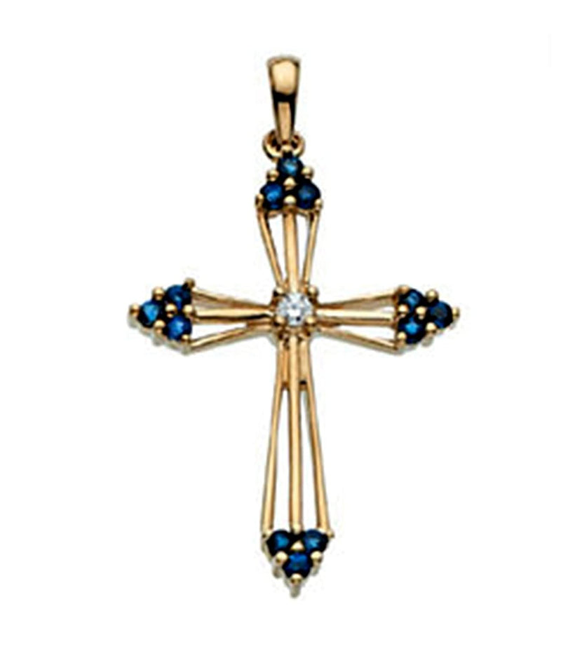 Diamond and Sapphire Passion Cross 14k Yellow Gold Pendant