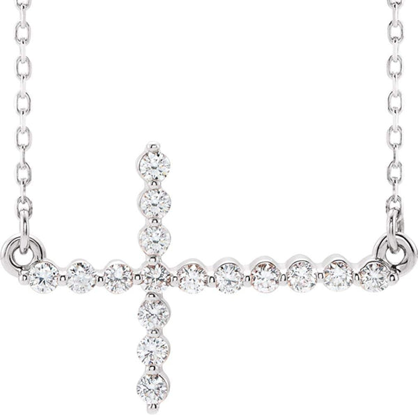 "Platinum Diamond Sideways Cross Necklace 18"" (.33 Ctw, G-H Color, I1 Clarity)"