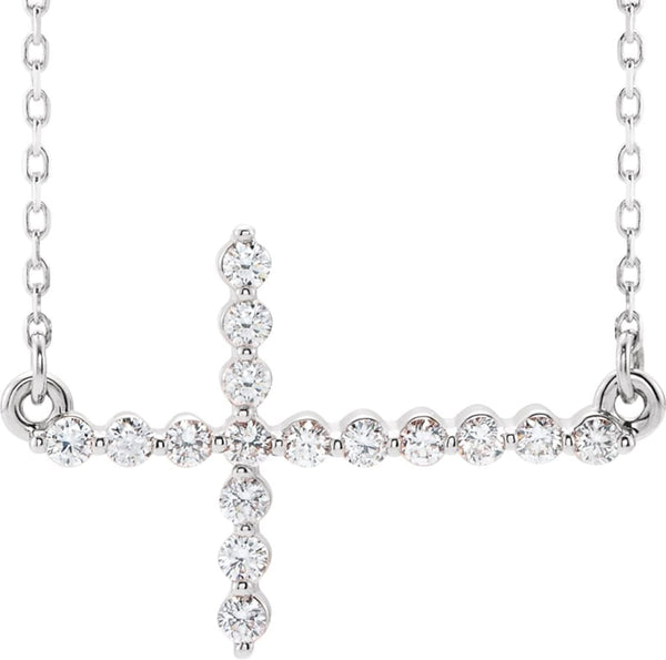"Platinum Diamond Sideways Cross Center Necklace, 18"" (.33 Ctw, G-H Color, I1 Clarity)"