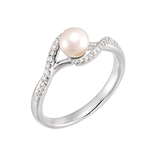 Freshwater Cultured Pearl, Diamond Bypass Ring, Sterling Silver (5-5.5mm)(0.1 Ctw, G-H color,SI2-SI3 Clarity)