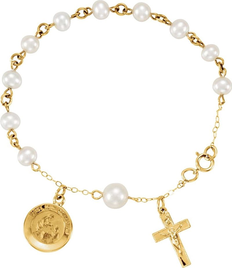 14k Yellow Gold and White Freshwater Pearls First Holy Communion Rosary Bracelet, 6""