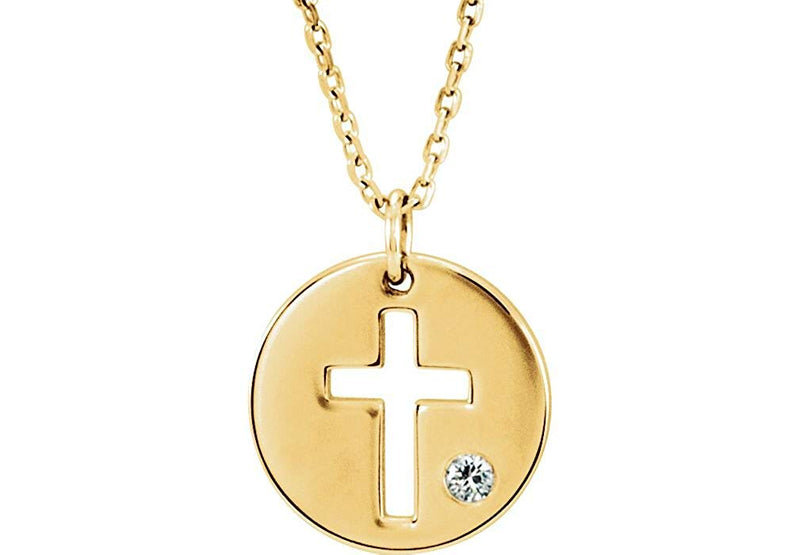 Diamond Pierced Cross Disc Pendant Necklace in 14k Yellow Gold (.03 Ctw, Color G-H, Clarity I1)