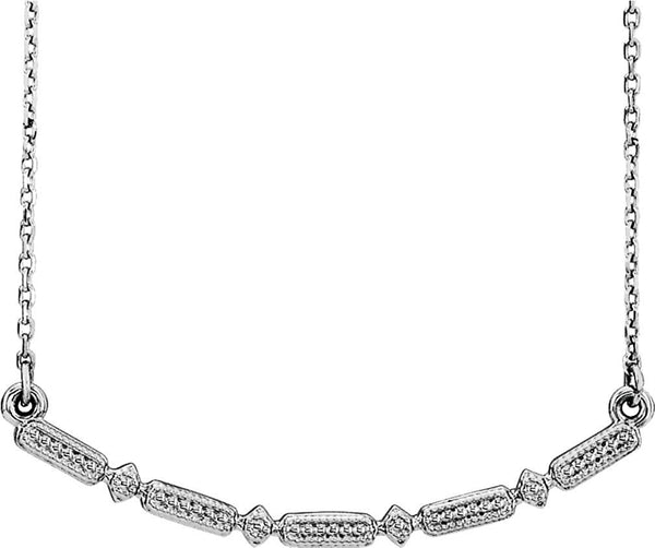 Petite Beaded Bar Necklace, Rhodium-Plated 14k White Gold, 16-18""