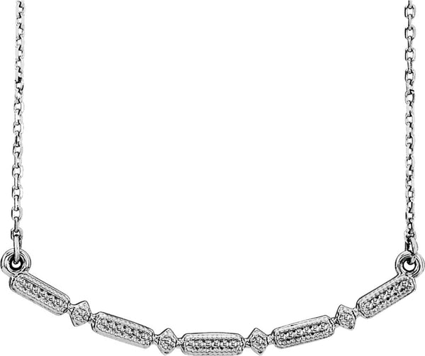 Petite Beaded Bar Necklace, Sterling Silver, 16-18""