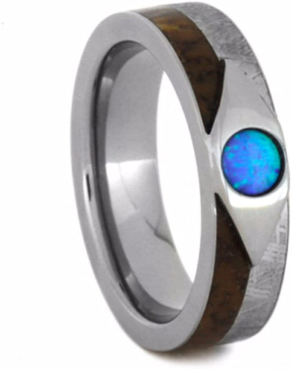 Cabochon Opal, Dinosaur Bone, Gibeon Meteorite 7mm Comfort-Fit Titanium Wedding Band, Size 4.75