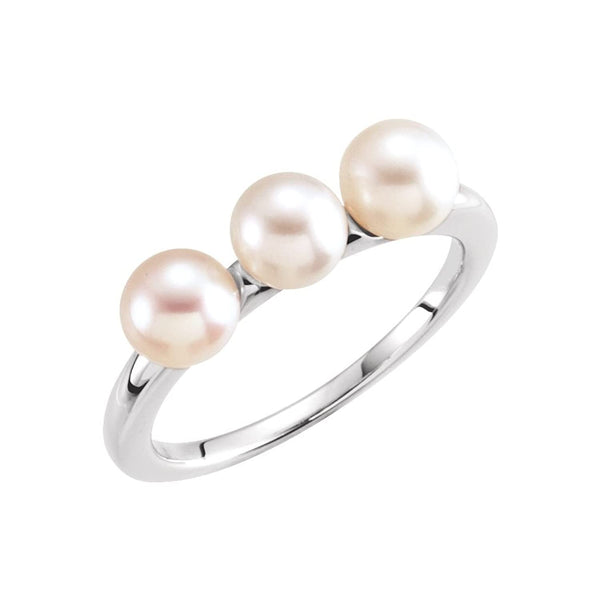 White Freshwater Cultured Pearl Three Stone Ring, Rhodium-Plated 14k White Gold (5.5-6mm) Size 7