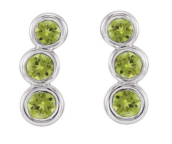 Platinum Peridot Three-Stone Ear Climbers