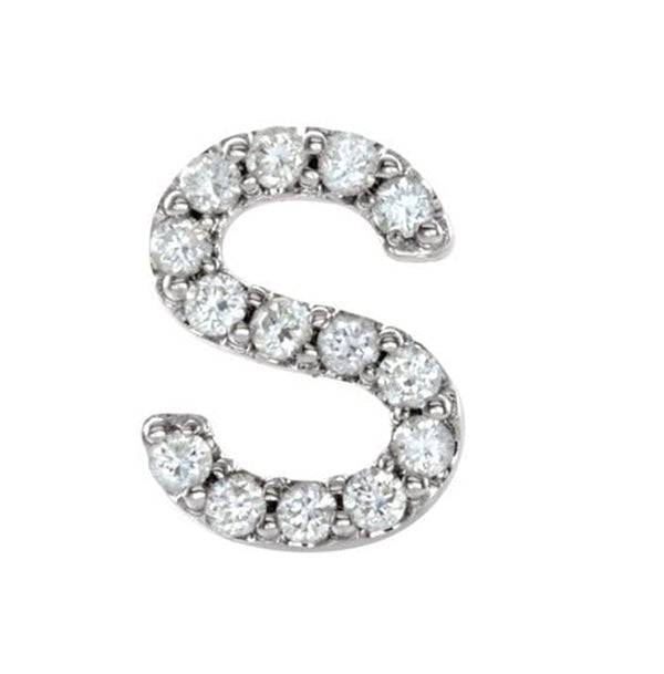 Sterling Silver Diamond Letter 'S' Initial Stud Earring (Single Earring) (.06 Ctw, GH Color, I1 Clarity)