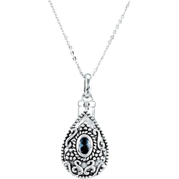 Blue-Green CZ Teardrop Ash Holder Necklace, Rhodium Plate Sterling Silver, 18""