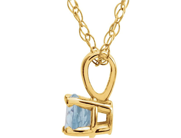 Children's Imitation Aquamarine 'March' Birthstone 14k Yellow Gold Pendant Necklace, 14""