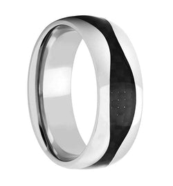 Men's Titanium Black Carbon Fiber Wave 8mm Comfort-Fit Band