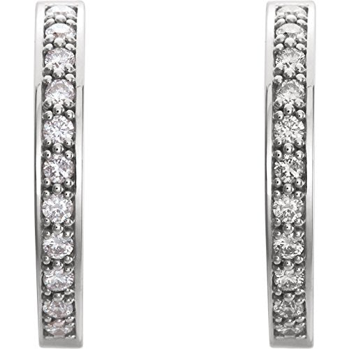 Platinum Diamond Inside-Outside Earrings (1/2 Ctw, Color G-H, Clarity SI2-SI3)
