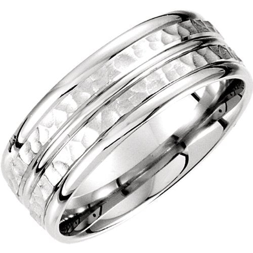 8mm 14k White Gold Fancy Carved Band Sizes 4 to 14