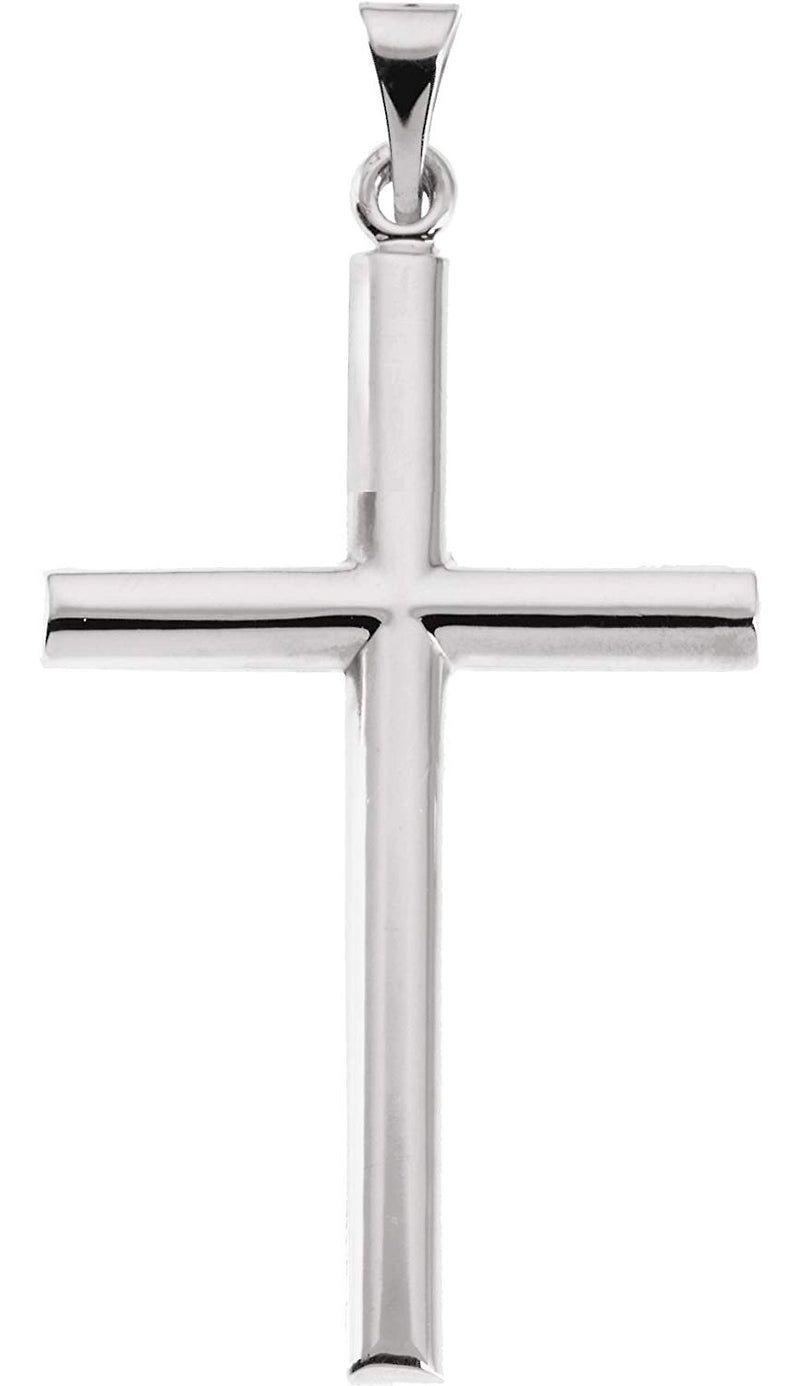 Latin Cross Rhodium-Plated 14k White Gold Gold Pendant (31.50X20.00 MM)