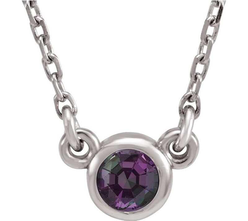 Chatham Created Alexandrite 'June' Birthstone 14k White Gold Pendant Necklace, 16""