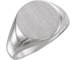 Men's Brushed Signet Ring, Rhodium-Plated 18k White Gold (15mm)