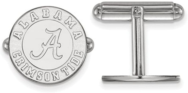 Rhodium-Plated Sterling Silver University of Alabama Cuff Links, 16MM