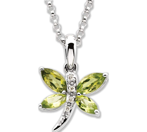 14k White Gold Peridot Marqise and Diamond Dragonfly Pendant Necklace. 18""