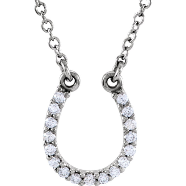 "Diamond Horseshoe Platinum Pendant Necklace, 16"" (.08 Cttw)"