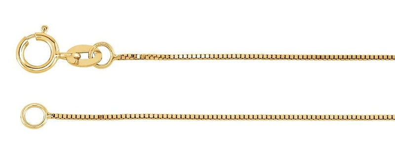.55mm 14k Yellow Gold Solid Box Link Chain