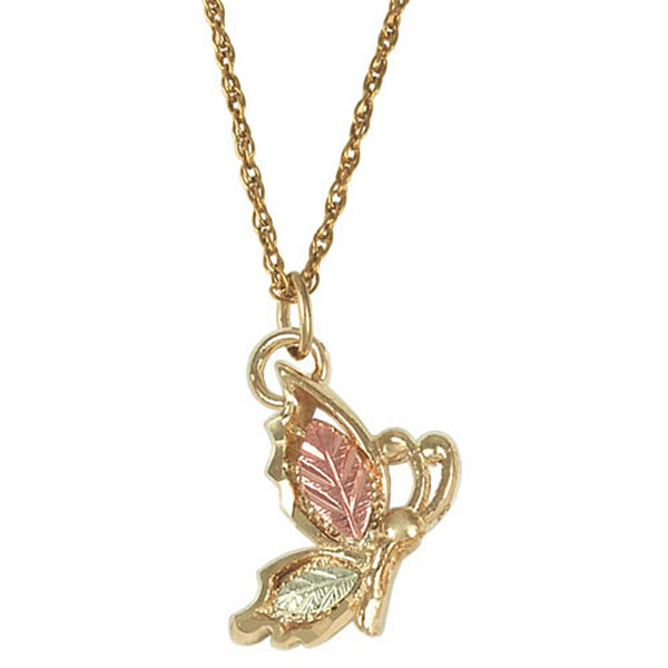 Butterfly Pendant Necklace in 10k Yellow Gold, 12k Rose and Green Gold, 18""