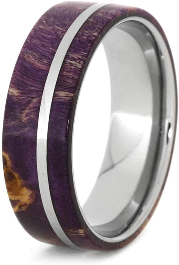 His and Hers Deer Antler, Purple Box Elder Burl Titanium Band, Purple Box Elder Burl Wood Titanium Band Sizes M13-F5