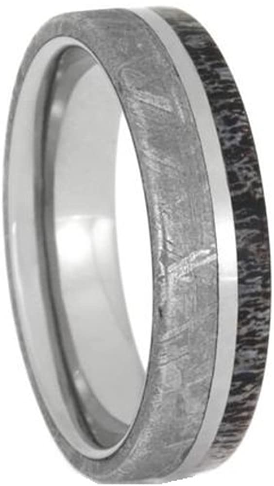 Gibeon Meteorite, Deer Antler 6mm Titanium Comfort-Fit Wedding Band, Size 5.5