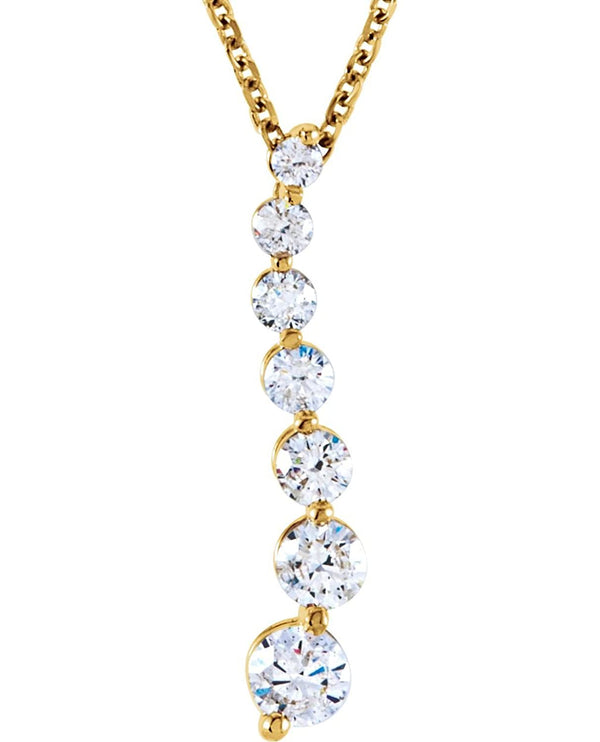 "Diamond 'Journey' Necklace in 14k Yellow Gold, 18"" (1/2 Cttw)"