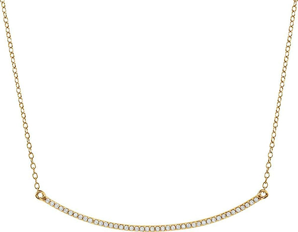 "Diamond Bar Necklace in 14k Yellow Gold, 16-18"" (1/6 Cttw)"