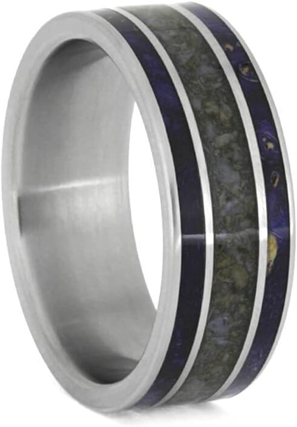 Crushed Dinosaur Bone, Blue Box Elder Burl Wood 8mm Matte Titanium Comfort-Fit Wedding Ring, Size 11.25