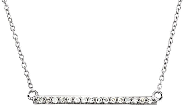 "16-Stone Diamond Bar Rhodium Plate 14k White Gold Pendant Necklace, 18"" (.16 Cttw, H+ Color, I2 Clarity)"