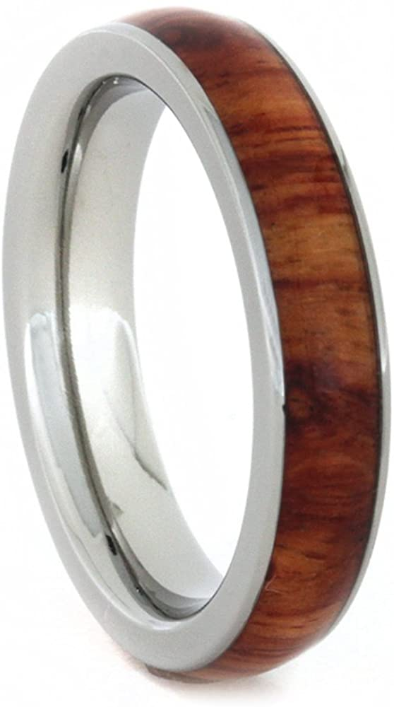 The Men's Jewelry Store (for HER) Charles & Colvard Moissanite and Diamond 10k White Gold Engagement Ring, Tulip Wood Titanium Wedding Band, Bridal Set, Size 15.5