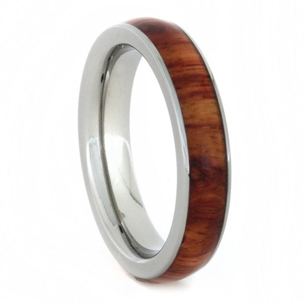 Tulip Wood Inlay 4mm Comfort-Fit Titanium Wedding Ring