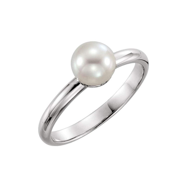 White Freshwater Cultured Pearl Solitaire Ring, Rhodium-Plated 14k White Gold (6.5-7mm) Size 7