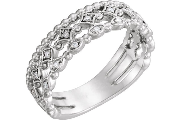 Diamond Stacking Ring, Rhodium-Plated 14k White Gold (.11 Ctw, G-H Color, I1 Clarity), Size 6