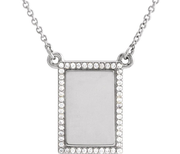 "Diamond Bar Necklace, Rhodium-Plated 14k White Gold, 18"" ( 0.125 Ctw, G-H Color, I1 Clarity)"