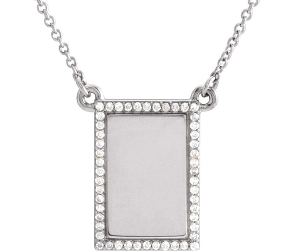"Diamond Bar Engravable Necklace, Rhodium-Plated 14k White Gold, 18"" ( 0.125 Ctw, G-H Color, I1 Clarity)"