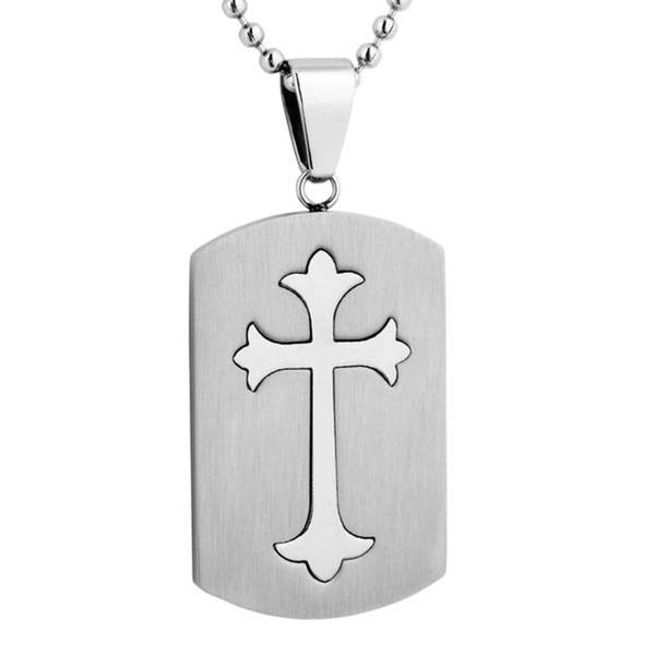 Men's Dual-Finish Cross Dog Tag Pendant Necklace, Stainless Steel, 24""