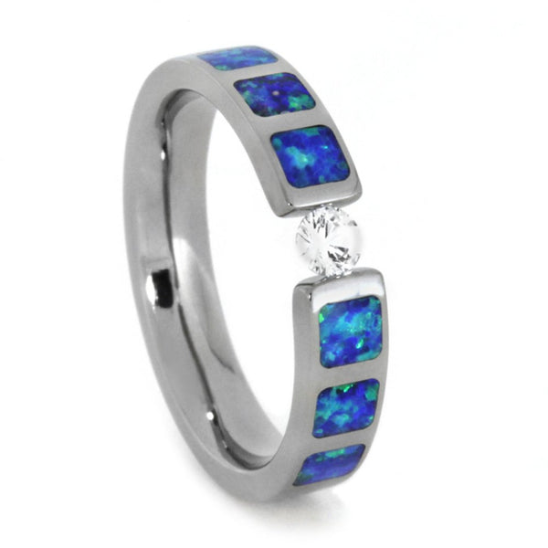White Sapphire, Lab Created Blue and Green Opal Inlays 4mm Comfort-Fit Titanium Wedding Band