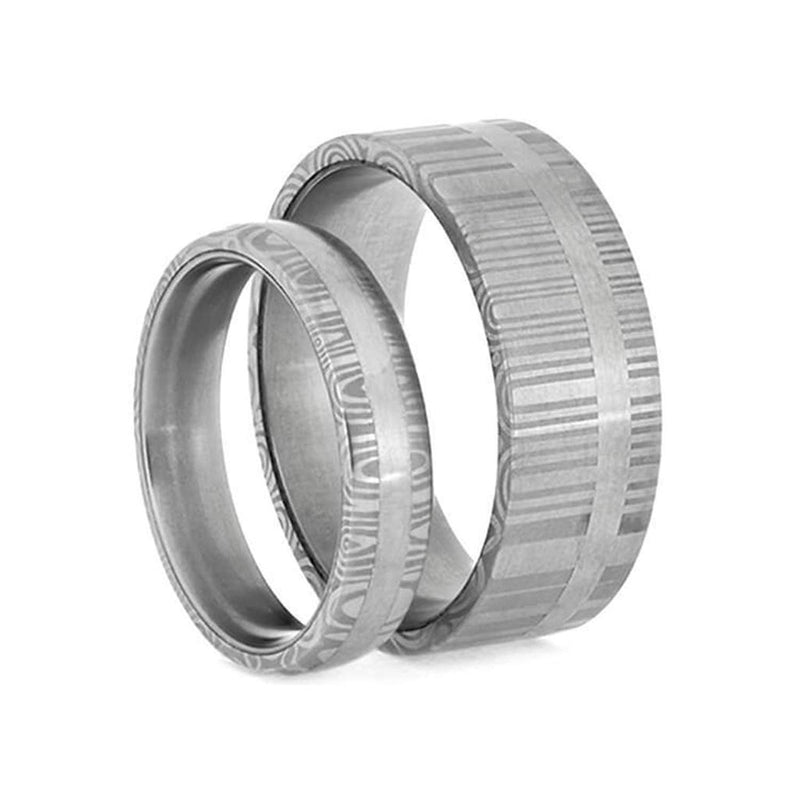 Damascus Steel Matte Comfort-Fit Stainless Steel Sleeve Couples Wedding Band Set